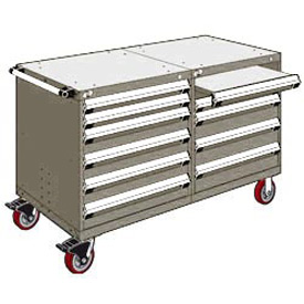 """Rousseau 10 Drawer Heavy-Duty Double Mobile Modular Drawer Cabinet - 60""""Wx27""""Dx37-1/2""""H Light Gray"""