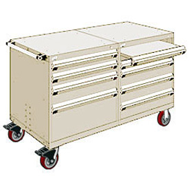 "Rousseau 8 Drawer Heavy-Duty Double Mobile Modular Drawer Cabinet - 60""Wx27""Dx37-1/2""H Beige"