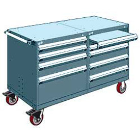 "Rousseau 8 Drawer Heavy-Duty Double Mobile Modular Drawer Cabinet - 60""Wx27""Dx37-1/2""H Everest Blue"