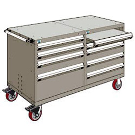 "Rousseau 8 Drawer Heavy-Duty Double Mobile Modular Drawer Cabinet - 60""Wx27""Dx37-1/2""H Light Gray"