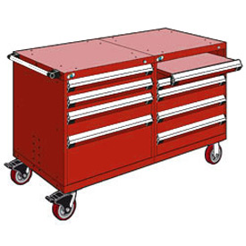 "Rousseau 8 Drawer Heavy-Duty Double Mobile Modular Drawer Cabinet - 60""Wx27""Dx37-1/2""H Red"
