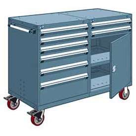 "Rousseau 8 Drawer Heavy-Duty Double Mobile Modular Drawer Cabinet - 60""Wx27""Dx45-1/2""H Everest Blue"