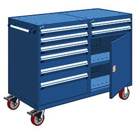 "Rousseau 8 Drawer Heavy-Duty Double Mobile Modular Drawer Cabinet -60""Wx27""Dx45-1/2""H Avalanche Blue"
