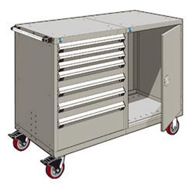 """Rousseau 7 Drawer Heavy-Duty Double Mobile Modular Drawer Cabinet - 60""""Wx27""""Dx45-1/2""""H Light Gray"""
