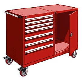 "Rousseau 7 Drawer Heavy-Duty Double Mobile Modular Drawer Cabinet - 60""Wx27""Dx45-1/2""H Red"