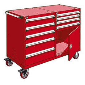 "Rousseau 9 Drawer Heavy-Duty Double Mobile Modular Drawer Cabinet - 60""Wx27""Dx45-1/2""H Red"