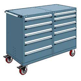 "Rousseau 10 Drawer Heavy-Duty Double Mobile Modular Drawer Cabinet - 60""Wx27""Dx45-1/2""H Everest Blue"