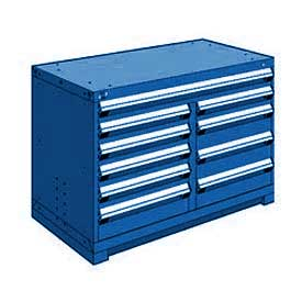 "Rousseau Metal 10 Drawer Bench High 48""W Multi-Drawer Cabinet - Avalanche Blue"