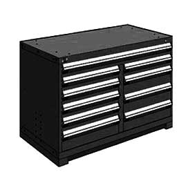 "Rousseau Metal 10 Drawer Bench High 48""W Multi-Drawer Cabinet - Black"