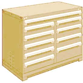 """Rousseau Metal 10 Drawer Counter High 48""""W Multi-Drawer Cabinet - Beige"""