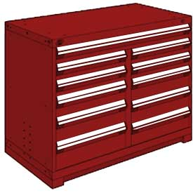 "Rousseau Metal 11 Drawer Counter High 48""W Multi-Drawer Cabinet - Red"
