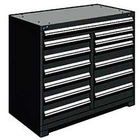 "Rousseau Metal 13 Drawer Counter High 48""W Multi-Drawer Cabinet - Black"