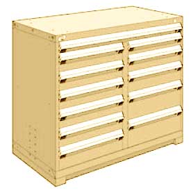 """Rousseau Metal 12 Drawer Counter High 48""""W Multi-Drawer Cabinet - Beige"""