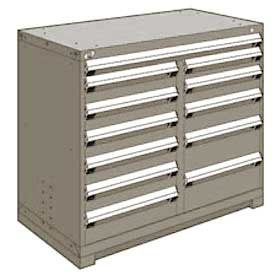 "Rousseau Metal 12 Drawer Counter High 48""W Multi-Drawer Cabinet - Light Gray"