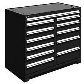 "Rousseau Metal 12 Drawer Counter High 48""W Multi-Drawer Cabinet - Black"