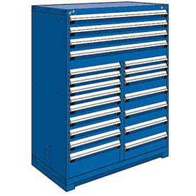 "Rousseau Metal 20 Drawer Full Height 48""W Multi-Drawer Cabinet - Avalanche Blue"