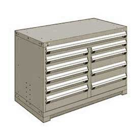 "Rousseau Metal 10 Drawer Bench High 48""W Multi-Drawer Cabinet - Light Gray"