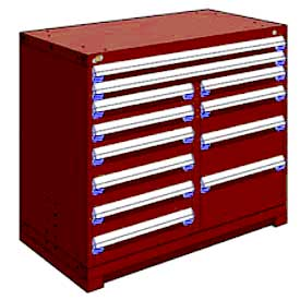 "Rousseau Metal 12 Drawer Counter High 48""W Multi-Drawer Cabinet - Red"