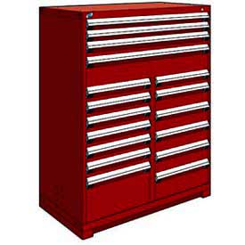 "Rousseau Metal 17 Drawer Full Height 48""W Multi-Drawer Cabinet - Red"
