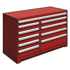 "Rousseau Metal 10 Drawer Counter High 60""W Multi-Drawer Cabinet - Red"
