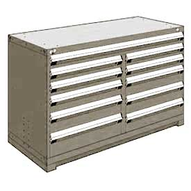 "Rousseau Metal 11 Drawer Counter High 60""W Multi-Drawer Cabinet - Light Gray"