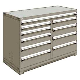 "Rousseau Metal 10 Drawer Counter High 60""W Multi-Drawer Cabinet - Light Gray"