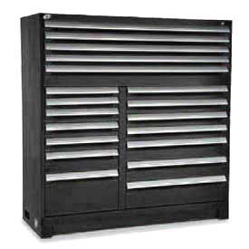 "Rousseau Metal 19 Drawer Full Height 60""W Multi-Drawer Cabinet - Black"