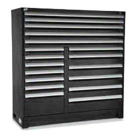 "Rousseau Metal 18 Drawer Full Height 60""W Multi-Drawer Cabinet - Black"