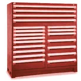 "Rousseau Metal 20 Drawer Full Height 60""W Multi-Drawer Cabinet - Red"