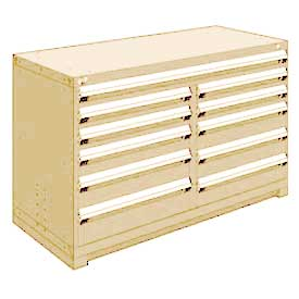 "Rousseau Metal 11 Drawer Counter High 60""W Multi-Drawer Cabinet - Beige"