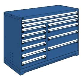 "Rousseau Metal 12 Drawer Counter High 60""W Multi-Drawer Cabinet - Avalanche Blue"