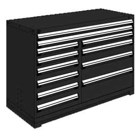 "Rousseau Metal 12 Drawer Counter High 60""W Multi-Drawer Cabinet - Black"
