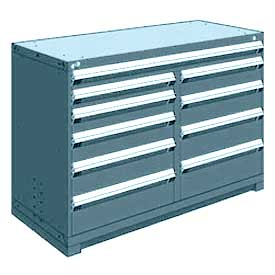 "Rousseau Metal 10 Drawer Counter High 60""W Multi-Drawer Cabinet - Everest Blue"