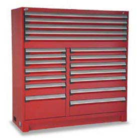 "Rousseau Metal 19 Drawer Full Height 60""W Multi-Drawer Cabinet - Red"