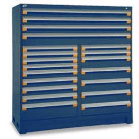 "Rousseau Metal 20 Drawer Full Height 60""W Multi-Drawer Cabinet - Avalanche Blue"