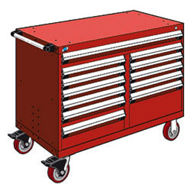"Rousseau Metal 12 Drawer Mobile Multi-Drawer Cabinet - 48""Wx24""Dx37-1/2""H Red"