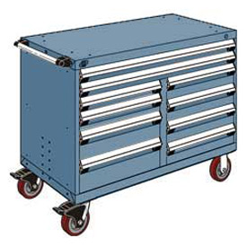 """Rousseau Metal 10 Drawer Mobile Multi-Drawer Cabinet - 48""""Wx24""""Dx37-1/2""""H Everest Blue"""