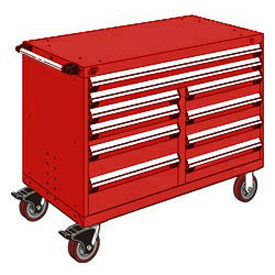 "Rousseau Metal 10 Drawer Mobile Multi-Drawer Cabinet - 48""Wx24""Dx37-1/2""H Red"
