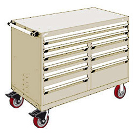 "Rousseau Metal 9 Drawer Mobile Multi-Drawer Cabinet - 48""Wx24""Dx37-1/2""H Beige"