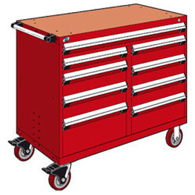 "Rousseau Metal 9 Drawer Mobile Multi-Drawer Cabinet - 48""Wx24""Dx41-1/2""H Red"