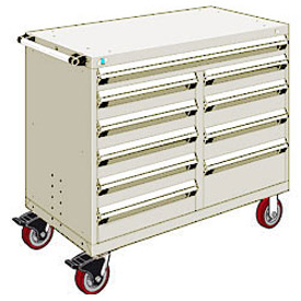 """Rousseau Metal 10 Drawer Mobile Multi-Drawer Cabinet - 48""""Wx24""""Dx41-1/2""""H Beige"""