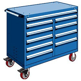 "Rousseau Metal 10 Drawer Mobile Multi-Drawer Cabinet - 48""Wx24""Dx41-1/2""H Avalanche Blue"