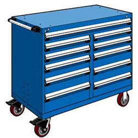 "Rousseau Metal 11 Drawer Mobile Multi-Drawer Cabinet - 48""Wx24""Dx41-1/2""H Avalanche Blue"