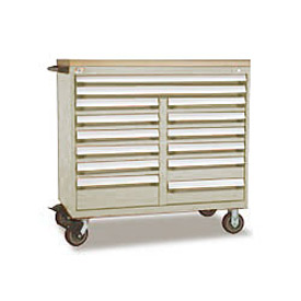 "Rousseau Metal 14 Drawer Mobile Multi-Drawer Cabinet - 48""Wx24""Dx45-1/2""H Beige"
