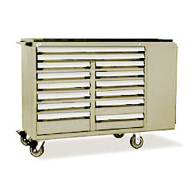 "Rousseau Metal 14 Drawer Mobile Multi-Drawer Cabinet - 62""Wx24""Dx45-1/2""H Beige"