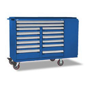 "Rousseau Metal 14 Drawer Mobile Multi-Drawer Cabinet - 62""Wx24""Dx45-1/2""H Avalanche Blue"