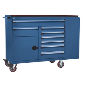 "Rousseau Metal 8 Drawer Mobile Multi-Drawer Cabinet - 62""Wx24""Dx45-1/2""H Avalanche Blue"