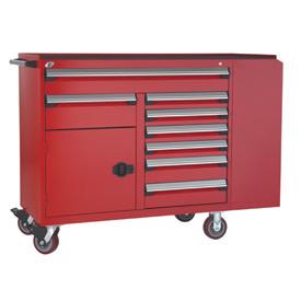 "Rousseau Metal 8 Drawer Mobile Multi-Drawer Cabinet - 62""Wx24""Dx45-1/2""H Red"