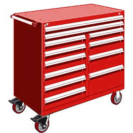 "Rousseau Metal 12 Drawer Mobile Multi-Drawer Cabinet - 48""Wx24""Dx45-1/2""H Red"