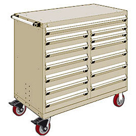 "Rousseau Metal 13 Drawer Mobile Multi-Drawer Cabinet - 48""Wx24""Dx45-1/2""H Beige"